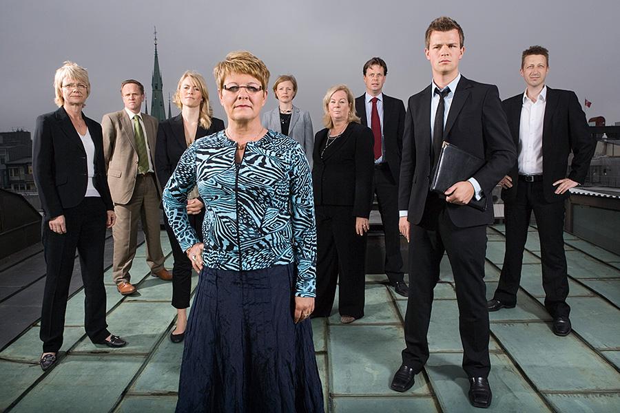 Maud Olofsson, näringsministern med sin stab