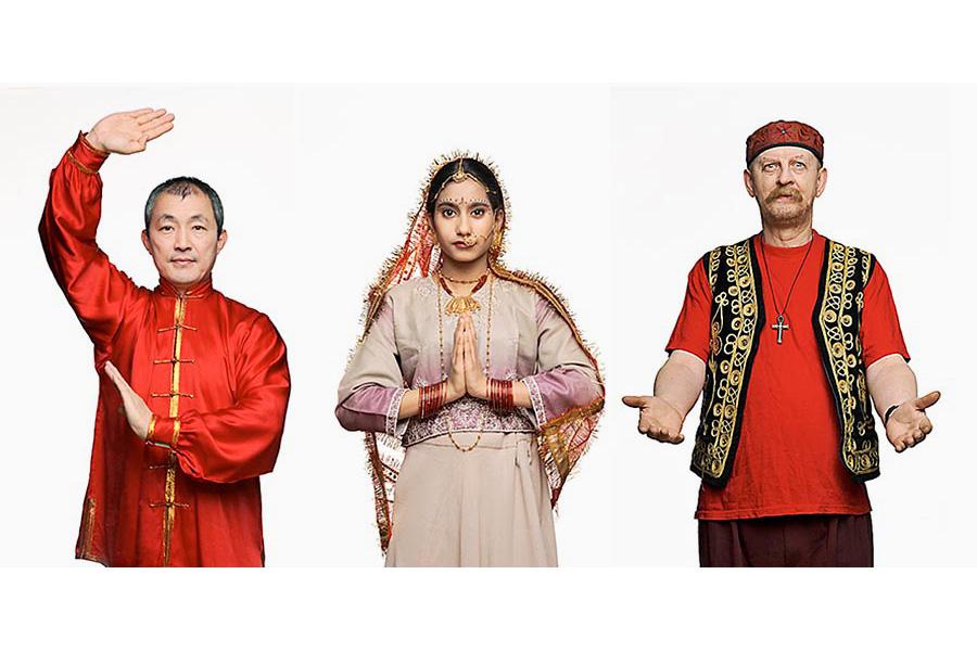 Yanji, Dipika och Elias från utställningen Konsten att fira nio nyår på Stockholms Stadsmuseum
